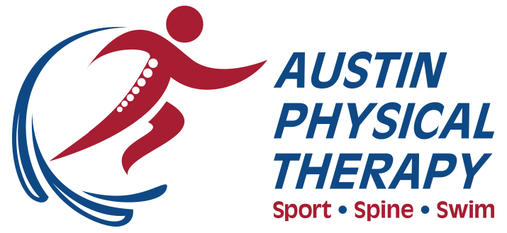 austin physical therapy logo with sport, spine, swim